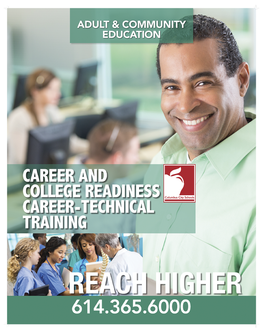 Columbus City School of Adult Education - Reach Higher Poster