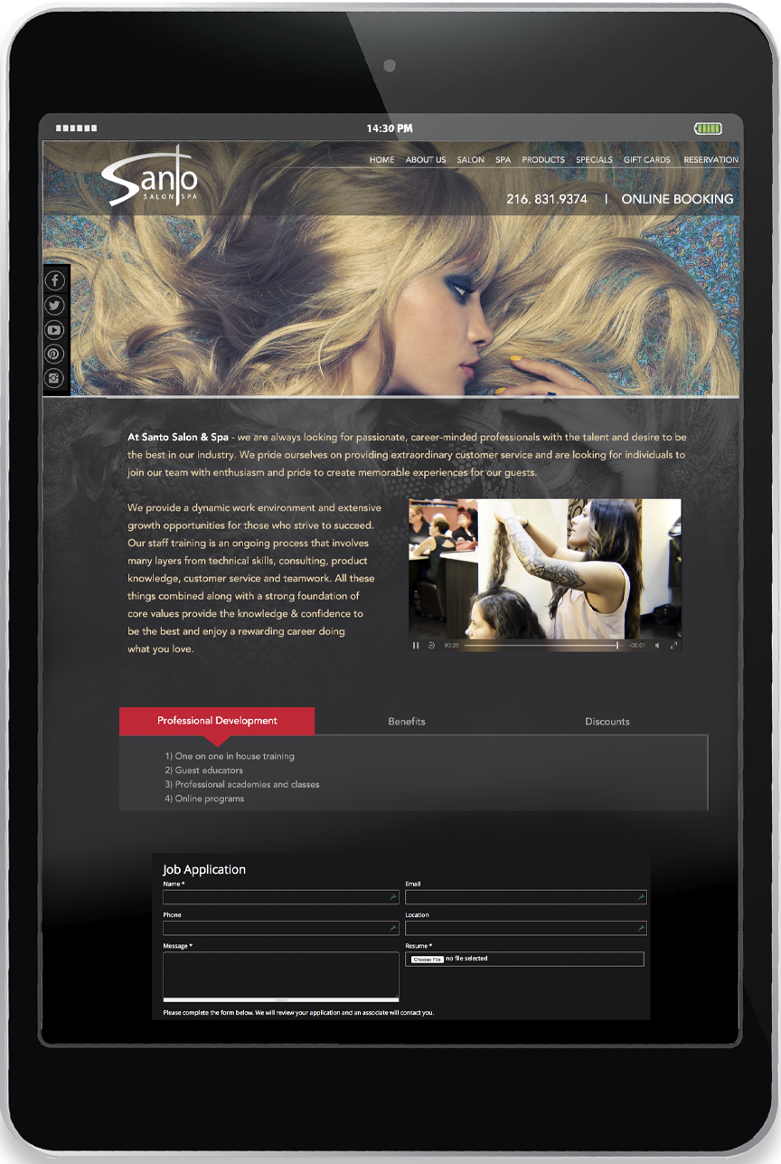 Santo Salon - Website Development in Ohio