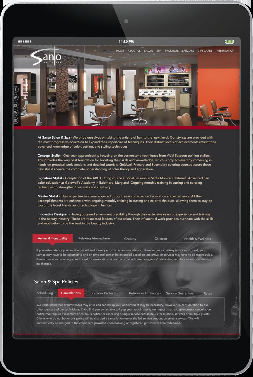 Santo Salon - Website Marketing