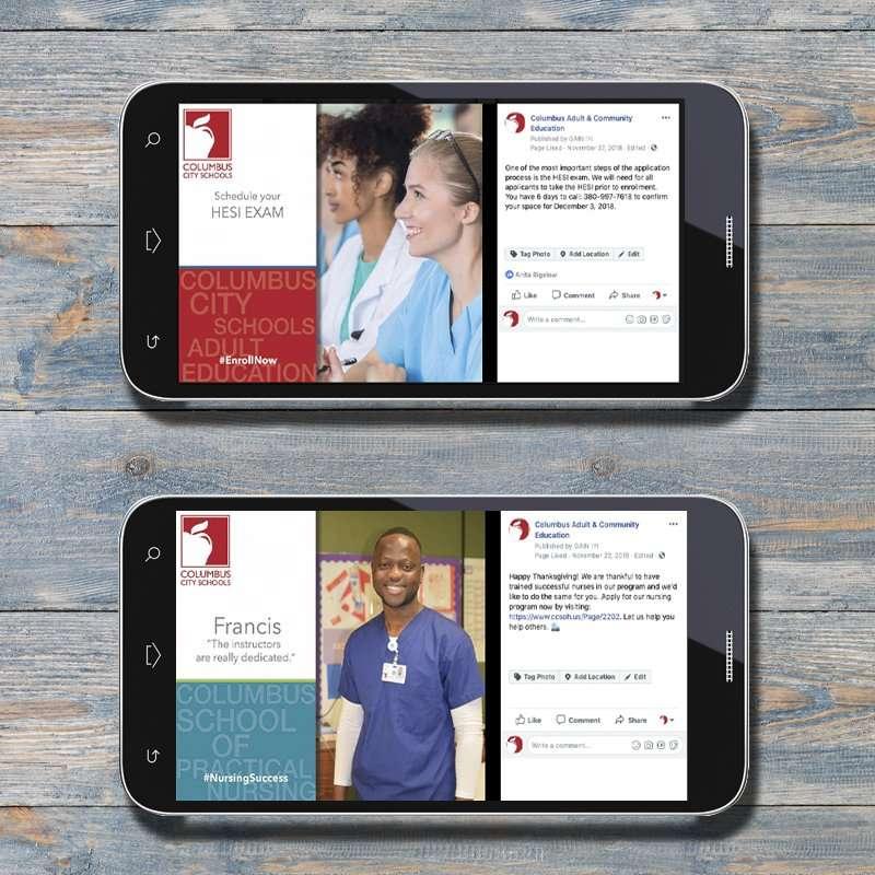 Columbus School of Nursing Online Facebook Ads